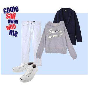 ホワイトデニム×パーカージャケット画像